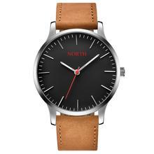 Минимализм Повседневное Для мужчин смотреть простые Стильные Для женщин Для мужчин любовника наручные часы черный Уникальная натуральная кожа Водонепроницаемый пару часов