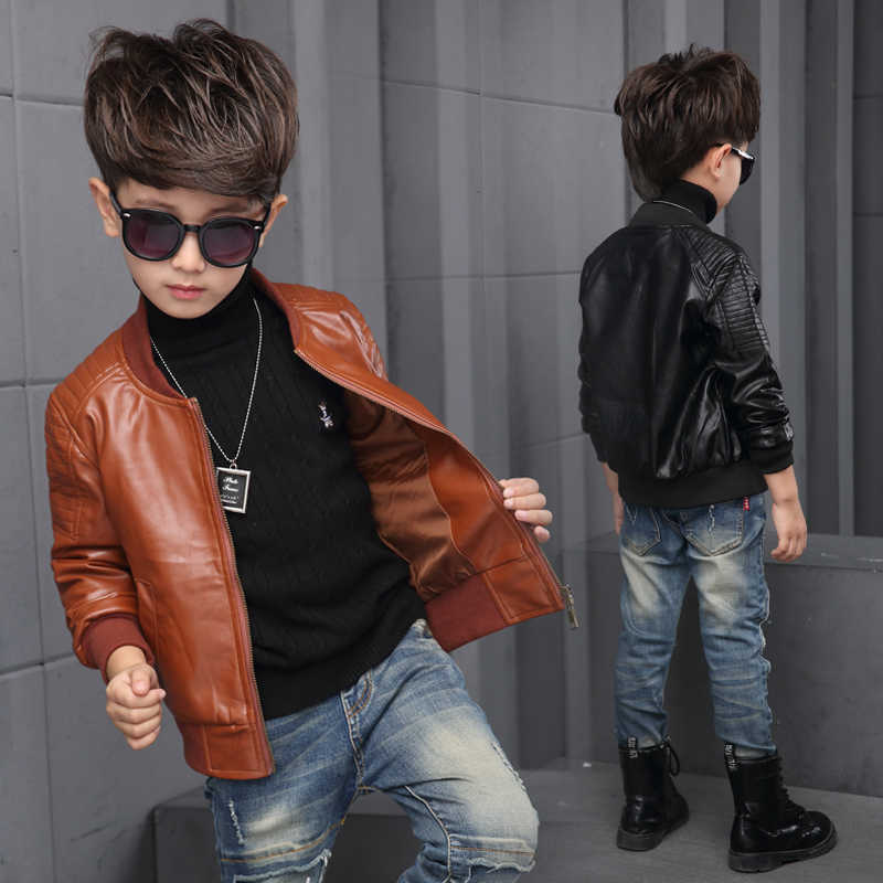 15bcad46c5a1 New Baby Boy Leather Jacket Boys Coat Black and Brown Color Children  Jackets Manteau Garcon Kids