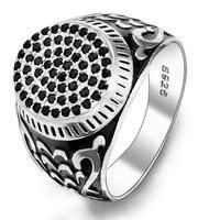 BELLA Fashion Men 925 Sterling Silver Black Oval Shape All Gems Ring Size 10 11 Silver