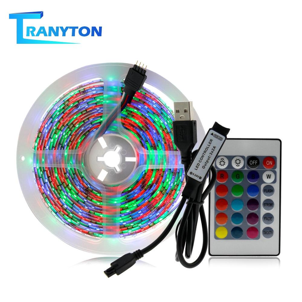 Tira de luz LED USB para fiestas, 50 CM, 1 M, 2 M, 3 M, 4 M, 5 M, RGB, blanco cálido, tira LED blanca, decoración de árbol de Navidad, luces de hadas.
