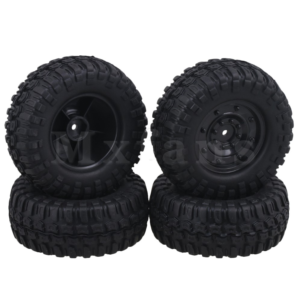 Mxfans 12mm Hex 96mm OD Square Pattern Rubber Tyre Plastic Disc Shape Wheel Rims for RC