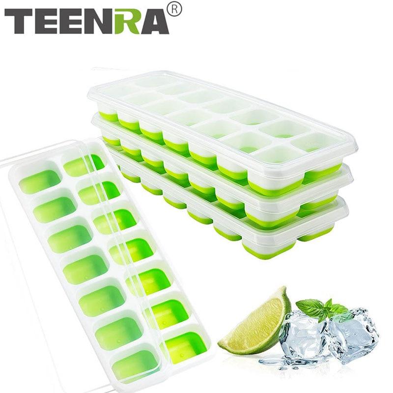 Bar Maker en plastique avec couvercles réutilisable Ice Tray Cube moule forme carrée