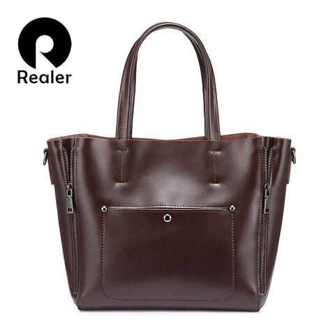 REALER women handbags split leather crossbody Shoulder bag tote ladies designer high quality large messenger bags for women Pakistan