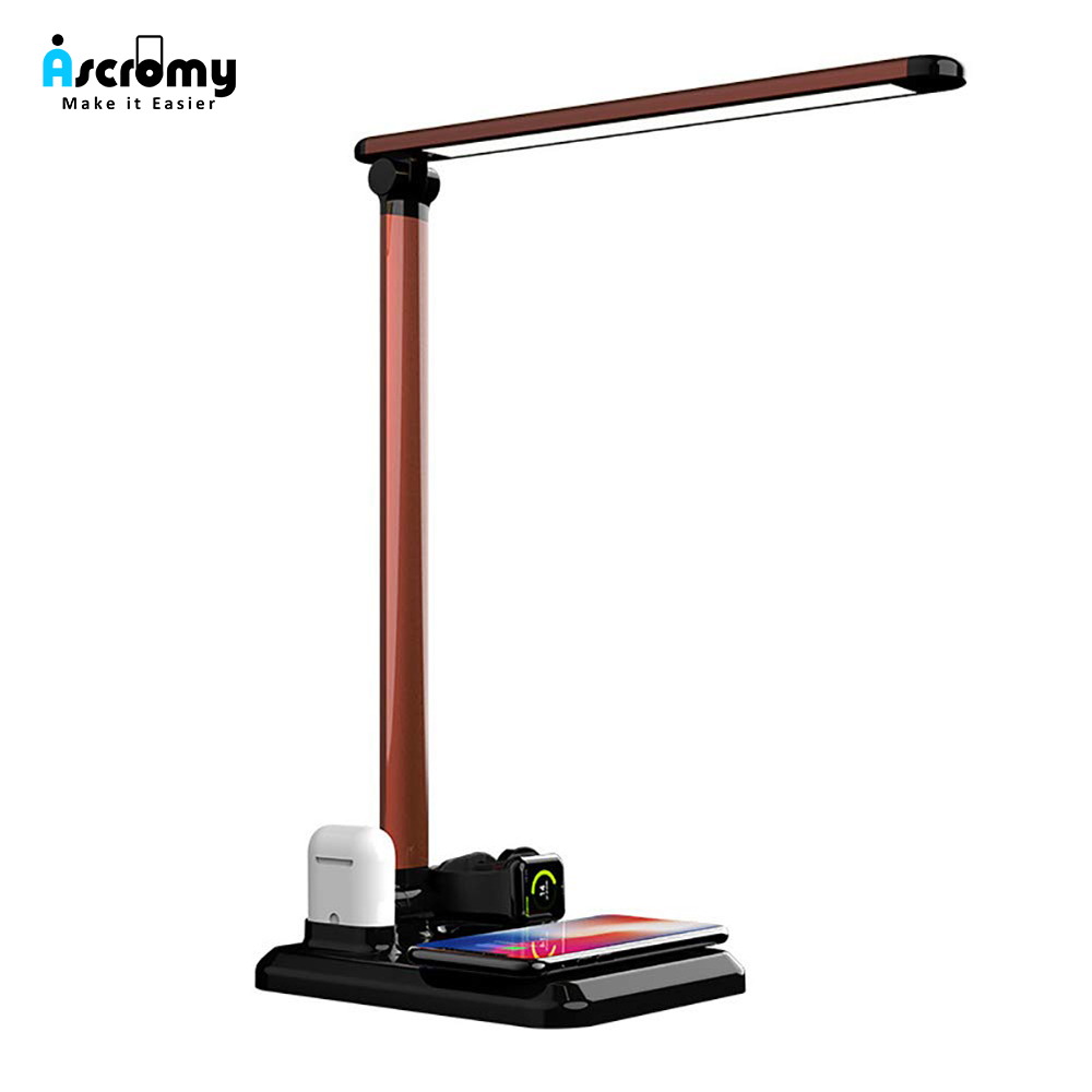 Ascromy Wireless 4 in 1 Folding Table LED Holder Charger For Iphone XS MAX XR 8