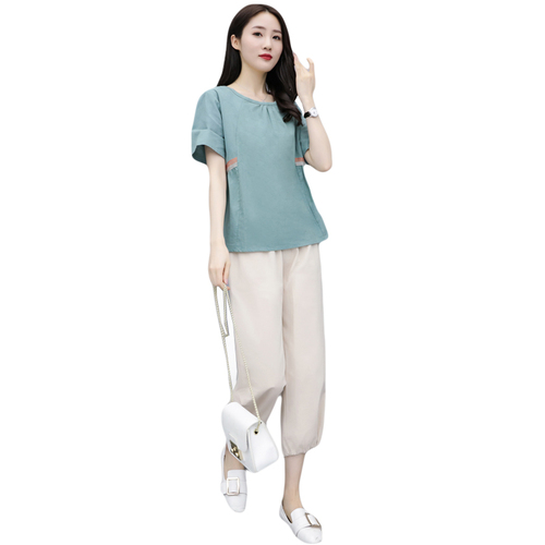 Summer Cotton Linen Two Piece Sets Outfits Women Blue Green Plus Size Short Sleeve Tops And Cropped Pants Casual Vintage Suits 33