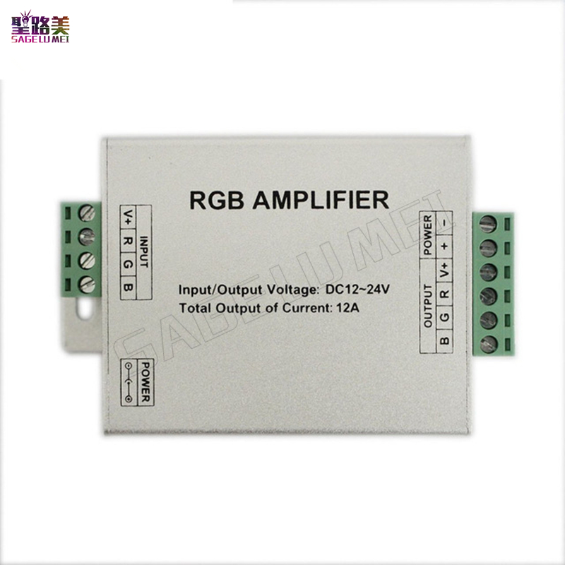 free shipping 1pcs DC12V 24V 12A RGB AMPLIFIER Controller Signal Amplifier For 3528SMD 5050SMD RGB LED