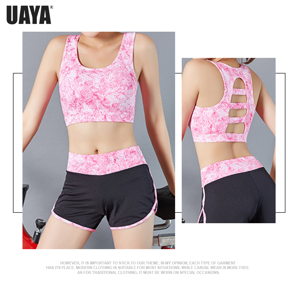 UAYA Women High Impact Sports Bra Hollow Out Seamless Yoga Bra Crop Tops For Fitness Padded Workout Sports Top Sexy Activewear