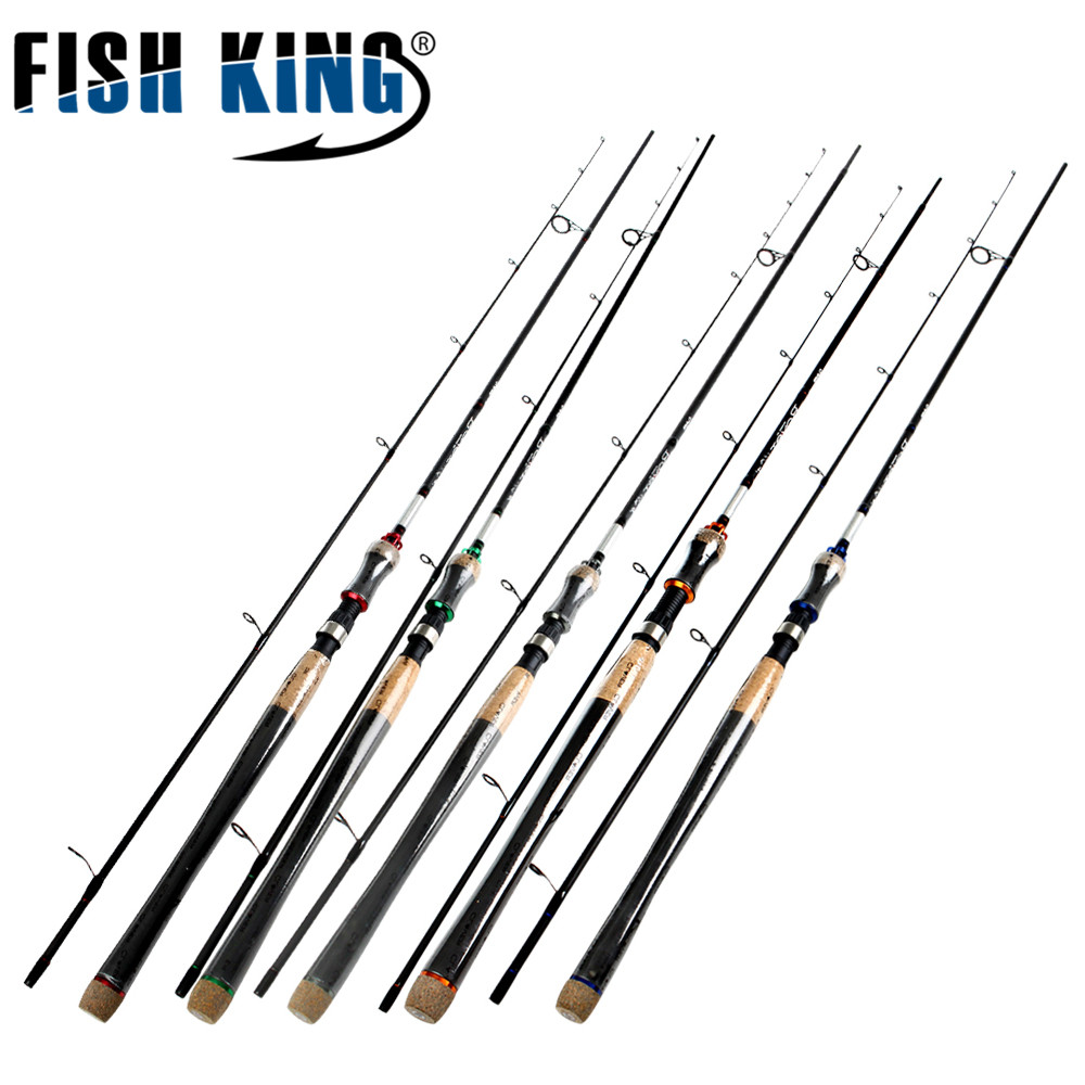 FISH KING Hi Carbon 5 Color 2.1M-2.7M 2 Section Soft Lure Fishing Rod Lure Weight 2-40g Spinning Fishing Rod For Lure Fishing 1 8m fishing lure rod