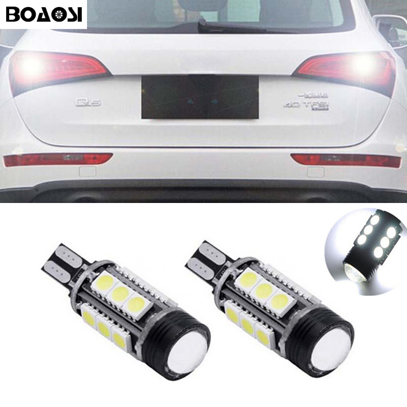 BOAOSI 2x T15 W16W Canbus LED Backup Reverse Light For Audi A1 A3 A4 A5 A6 A7 A8 Q3 Q5 Q7 R8 Quattro RS5 RS7 S3 S4 S5 TT A4L A6L boaosi 1x h11 h8 led canbus bulbs reflector mirror design for fog lights no error for audi a3 a4 a5 s5 a6 q5 q7 tt