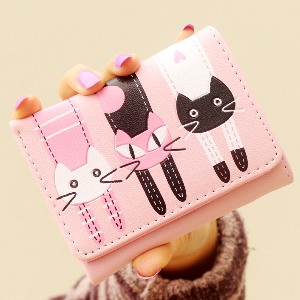 Women Wallet Female Purse PU Leather Cute Cat Anime Trifold Card Holder Coin Purses Short Clutch Three Cat style mini Wallet 35# j bg pink new 2017 women cute cat cartoon wallet long creative card holder casual ladies clutch pu leather coin purse