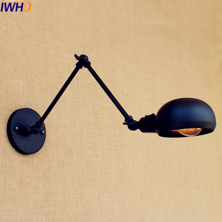 Considerate Iwhd Black Retro Vintage Wall Light Fixtures With Switch Arm Lamp Led Edison Loft Industrial Wall Sconce Lighting Wandlampen Relieving Rheumatism Led Indoor Wall Lamps