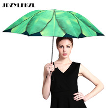 цена на Creative Banana Leaf Sun Umbrella Female Small Fresh Three Fold Woman Umbrella UV Sunshade Sunscreen Black Plastic Umbrellas
