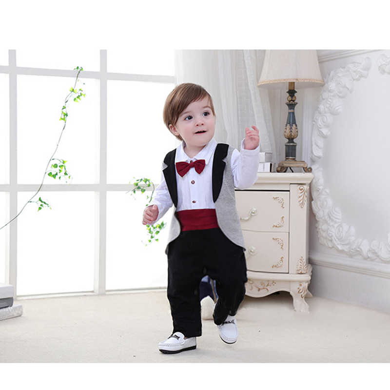 7686d273 ... Newborn Tuxedo jumpsuit gentleman baby clothes with tie romper for wedding  birthday party infant toddler formal ...