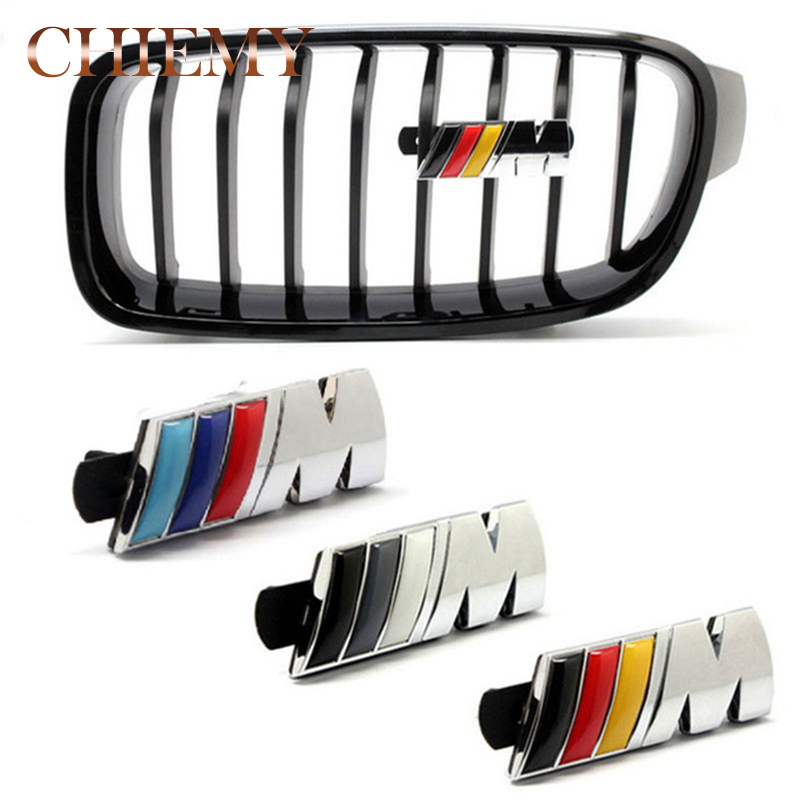 3D Metal ///M Power Car Front Grille emblem Chrome Badge 3D metal Logo Sticker Emblem For BMW M Badge E36 E30 E34 E46 E39 E90 1pcs 3d metal s5 car front grille adhesive emblem badge stickers accessories styling for audi a5 s5