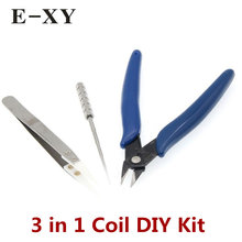 3 IN 1 Different Useful Coil DIY Tools Master Tool Kit For RDA RTA Wire Prebuilt Coil User Coil Jig Pliers Ceramic Tweezer(China)