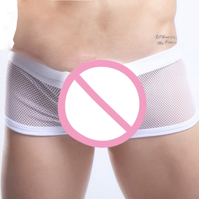 CLEVER-MENMODE Breathable Mesh Sheer Underwear Boxers Sexy See Through Transparent