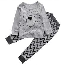 2PCS/lot kids baby pajamas jammies suit children's warm underwear baby boys girls pajamas sets winter cartoon clothes sleepwear