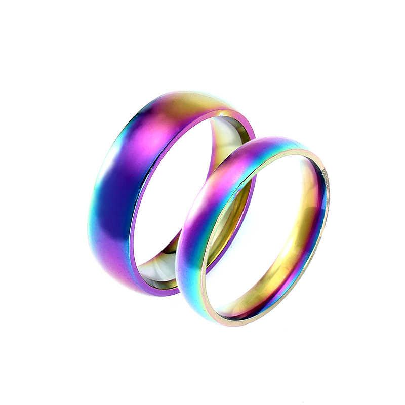 4 มม. 6 มม. Rainbow 316L สแตนเลสแหวนไทเทเนียมแหวนคู่สำหรับสตรีและผู้ชาย