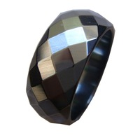 2017 2PC Fashion Wide Faceted Cut Surface Hematite Stone Finger Band Rings US Size 6 5