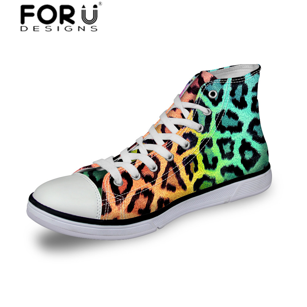 FORUDESIGNS Fashion Leopard Canvas Shoes for Men Ladies Trendy Classic High Canvas Shoes Lovers Shoes Lacing Flats Ladies