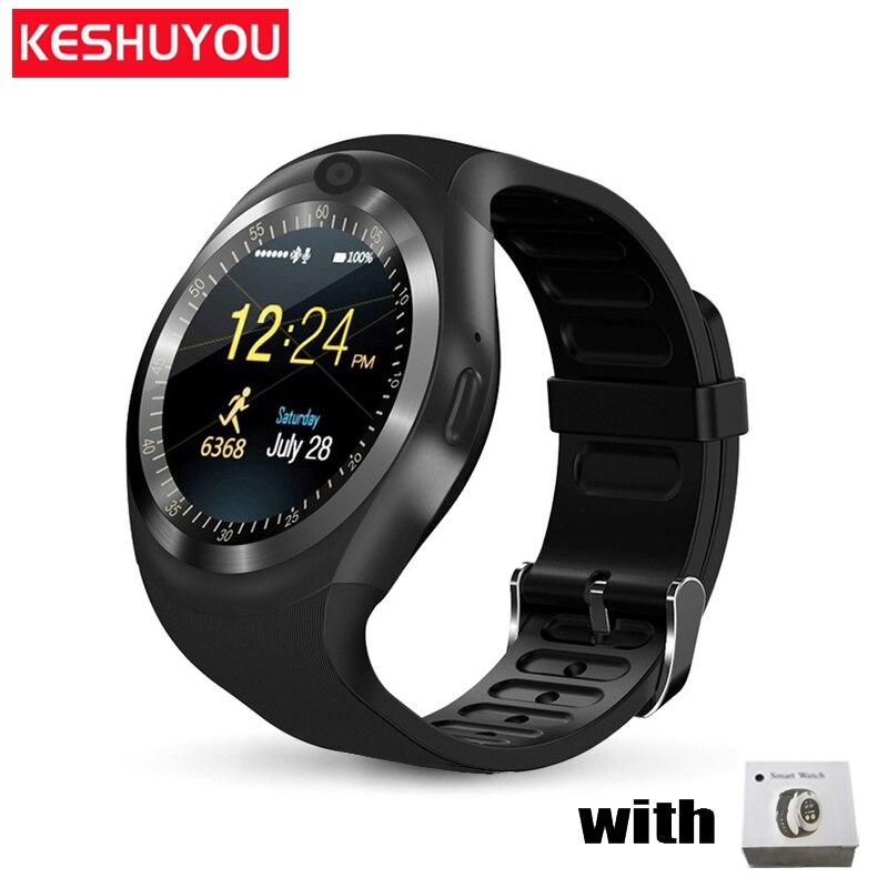 KESHUYOU mode smart watch y1 android antwort anruf tragen band getriebe männer smartwatch android kompatibel tragbare geräte für telefon