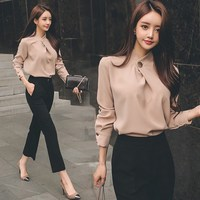 Autumn Women Office Work Wear Two Piece Business Suit Sexy Chiffon Shirt Tops and Black Pants Suit