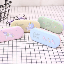 1 pcs Creative 4 Color Unicorn/Cactus  Kawaii Cute Cartoon Iron Tin Metal Glasses Box Spectacle Case Students Stationery Gift