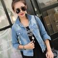 Women supermode slim short design long-sleeve denim outerwear female all-match top jackets