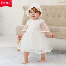 Iyeal vestidos de batismo do bebê infantil vestido da menina do batismo para a menina roupas de verão vestidos para o casamento da menina do bebê 3pcs