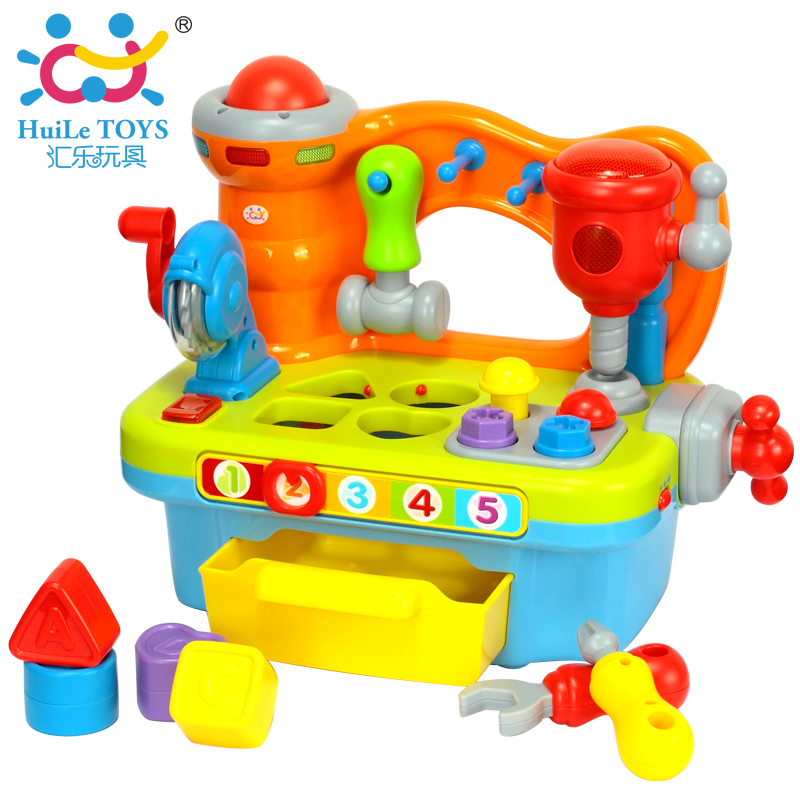 ФОТО HUILE TOYS 907 Baby Toys Early Learning Games Toy Workshop Brinquedos Bebe Electric Juguettes Infant Sounding Tools Toys Gifts