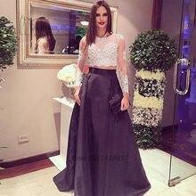 252c8216693 Formal Black White Lace 2 Piece Prom Dresses Cheap Vestidos de Formatura  Gala Long Sleeve Evening Dress Noche Evening Gowns