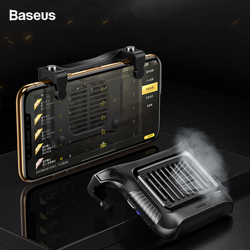 Baseus Gamepad Joystick Phone Cooler Shooter Trigger Fire Button For iPhone Xs Max Xiaomi Andriod Mobile Phone Game Controller