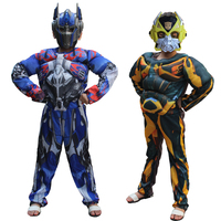 Optimus Prime Bumblebee Halloween Costume For Kids Muscle Jumpsuits Mark Children Boys Clothes Movie Superhero Cosplay