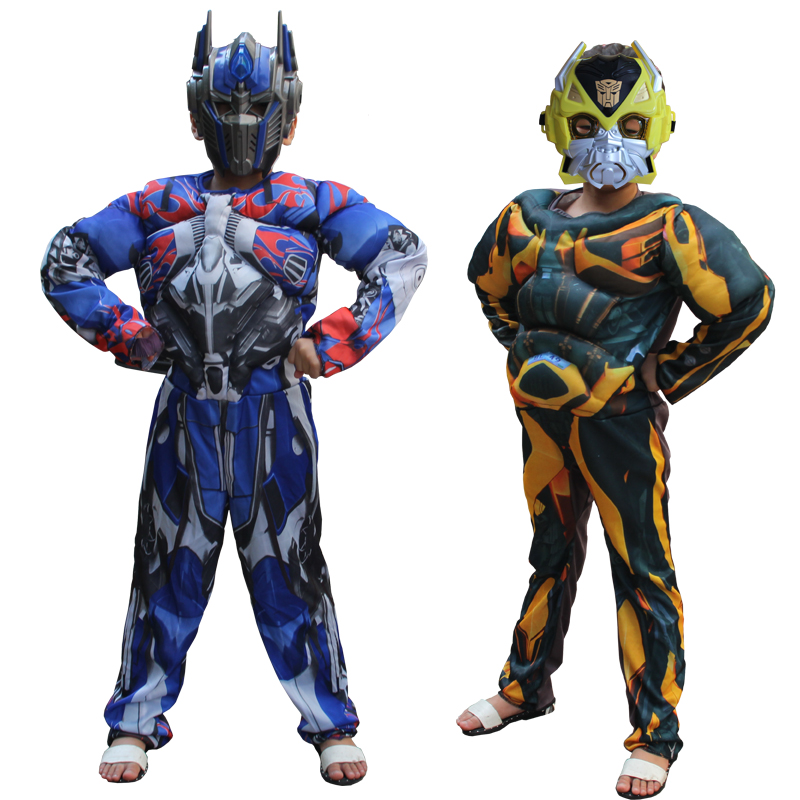 Optimus Prime Bumblebee Halloween Costume for Kids Muscle Jumpsuits Mask Children Boys Clothes Movie Superhero Cosplay Clothing