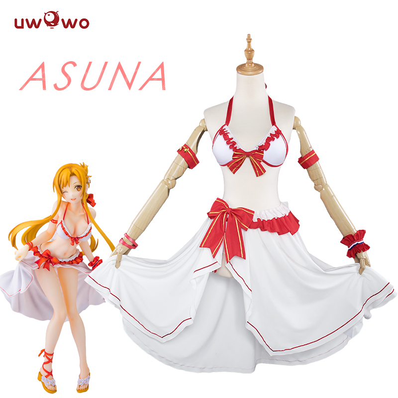 UWOWO Sword Art Online Anime Cosplay Yuuki Asuna Costume Sword Art Online Cosplay Women Yuuki Asuna Swimsuit Costume SAO