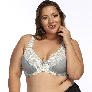 Image 4 - Women Underwire Plus Size Bras Full Coverage Non Padded Lace Brassiere Minimizer Underwear 32 52 DDD F FF G H Color Gray BH