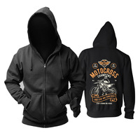 Bloodhoof Motocross Champions Locomotive Printing Black Cotton Men Hip Hop Unisex Tops Hoodie Asia Size