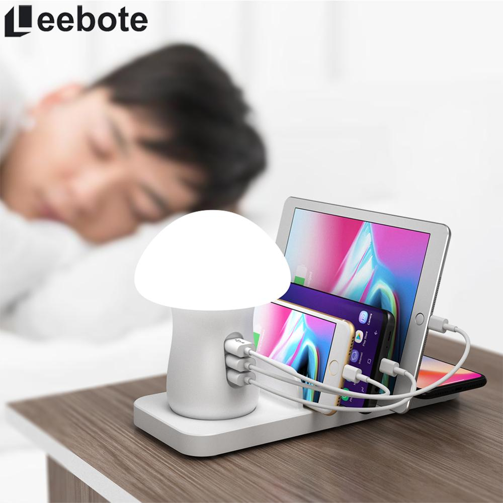 40W Quick Charge 3.0 USB Charger Dock Station with Night Light Fast Wireless Charger for iPhone Xiaomi Samsung Huawei EU UK Plug image