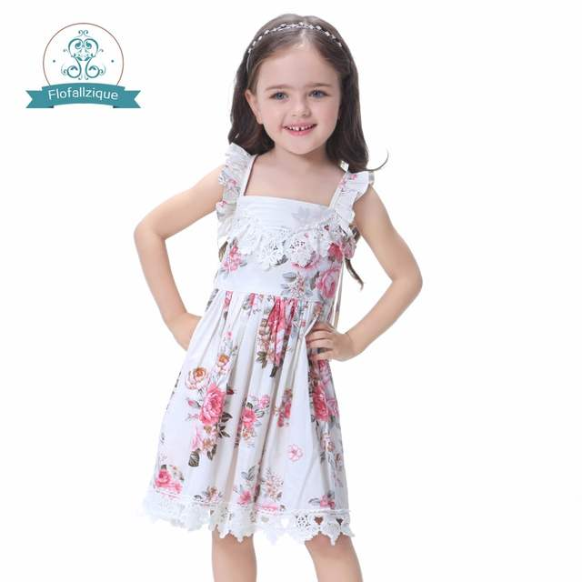 3b8749489f40 Online Shop Rose Floral Printed Baby Girls Dresses 2017 summer Brand ...