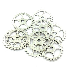 Pendant For Bracelet Round Gearwheel Metal Craft Jewelry DIY Findings Charms Silver Tone 25mm 10Pcs