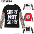 T-Shirts For Boys Girls Tattoo T Shirt Children Ruffle Sleeve Raglan Bobo Choses Teen Tops Kids Clothes Teenage Boys Clothing