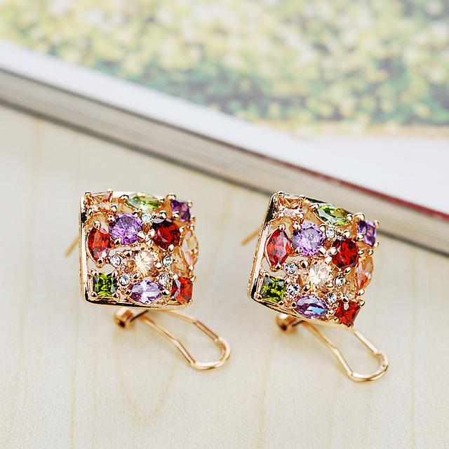 O envio gratuito de Moda Italina Red Apple Rose Banhado A Ouro Crystal Fashion praça jóia Brinco de Jóias por atacado Novo Presente