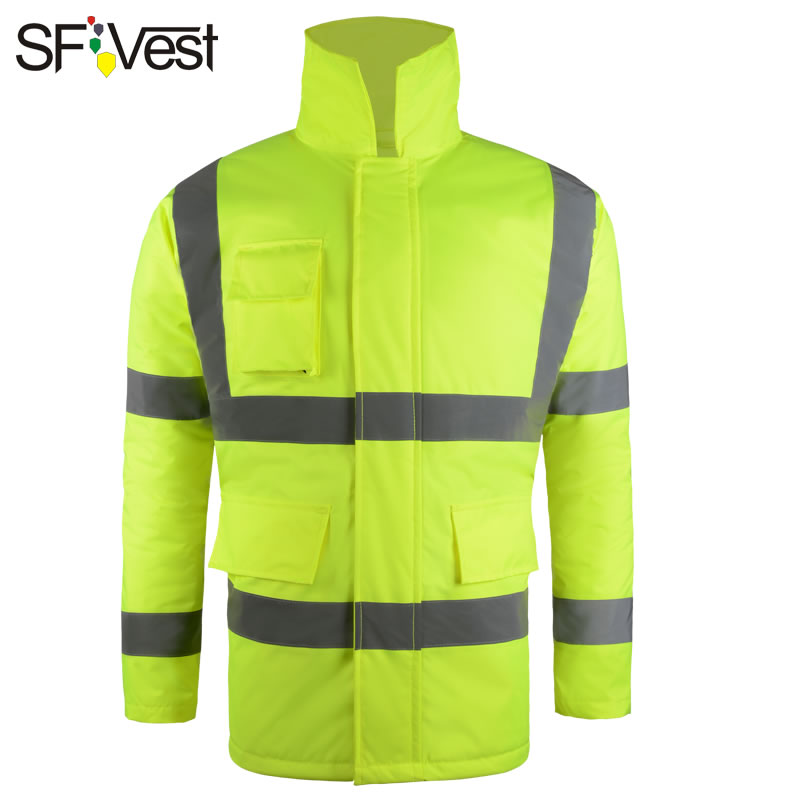 Hi Vis Waterproof Reflective Winter Parka Jacket With Reflective Stripes Workwear Rain Coat Men Hooded Parka Hi Vis Waterproof Reflective Winter Parka Jacket With Reflective Stripes Workwear Rain Coat Men Hooded Parka