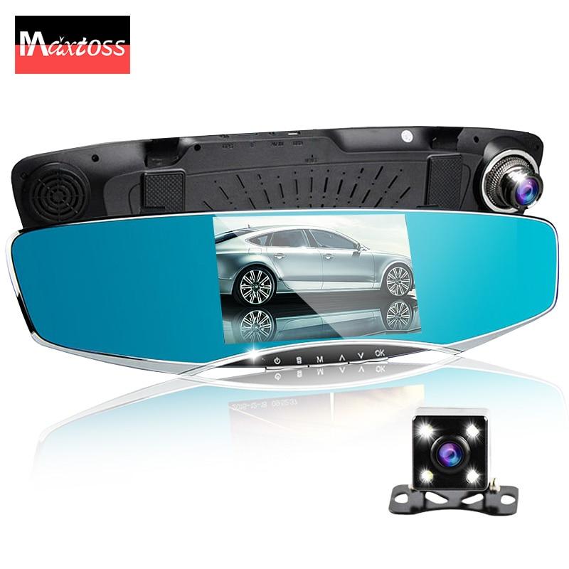 """imágenes para 5 """"pulgadas de coches espejo retrovisor de la cámara auto dvr dvr de doble lente de coches grabador de vídeo registrator cam dash hd1080p visión nocturna"""