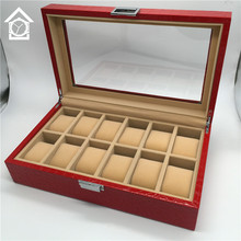 12 Grids Watch Display Box Original Red Leather Watch Storage Boxes Fashion Watch Gift Boxes With Window A048