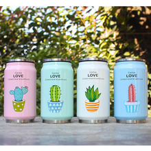 Creative Straw Mug Cute Plant Pattern Stainless Steel Vacuum Flask Thermos  Children Cans Cup Hot Water 350 ml