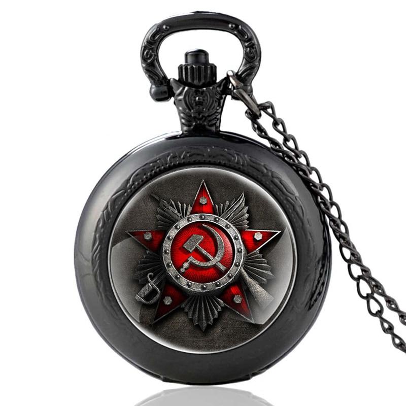 Classic Soviet Army Art Glass Cabochon Pocket Watch Vintage Men Women Scythe Hammer Quartz Necklace Watches