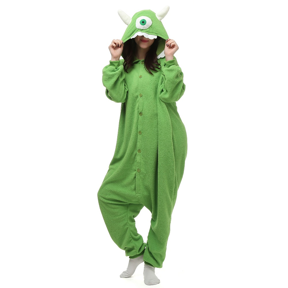 Christmas Halloween Birthday Gift Monster University Mike Wazowski Fleece Onesie Homewear Hoodie Pajamas Sleepwear Robe