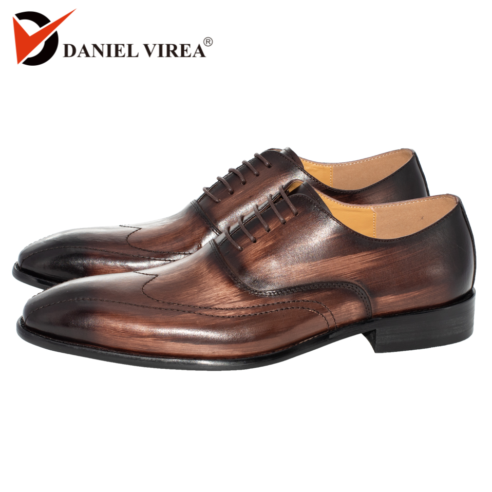 Men Shoes Genuine Leather Pointed Toe Handmade Office Business Mixed Coffee Color Luxury Wedding Dress Formal