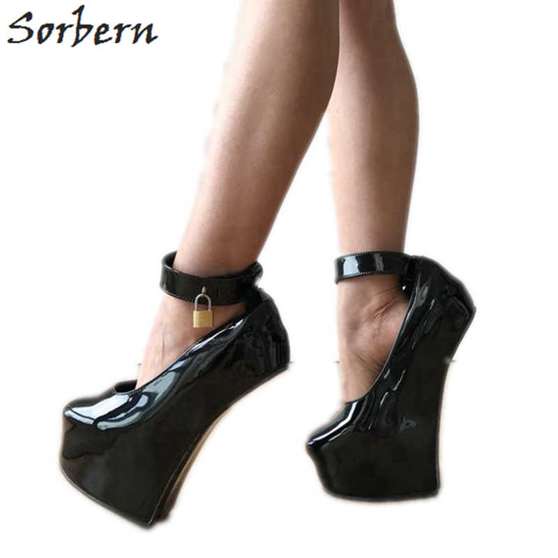 9988b7c649 Sorbern Sexy Fetish Heelless Pumps Locks Ankle Strap Hoof Sole Platform  Pump Lockable Padlock Strap Patent